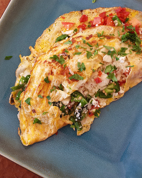 Omelets with Roasted Jalapeno Peppers, Pepperoni, Ham, Feta and Parmesan Cheese Recipe