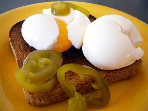 Spicy Soft Boiled Eggs with Toast and Jalapeno Peppers