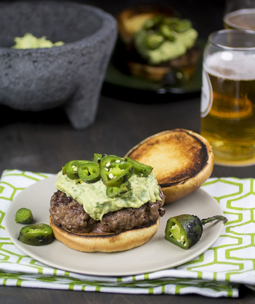 Goat Cheese Guacamole Burgers with Jalapeno Peppers