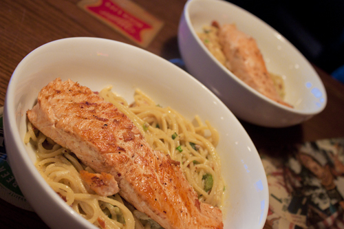 Jalapeno-Carbonara with Linguini and Salmon Recipe