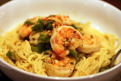 Shrimp Scampi Recipe with Roasted Jalapeno Peppers