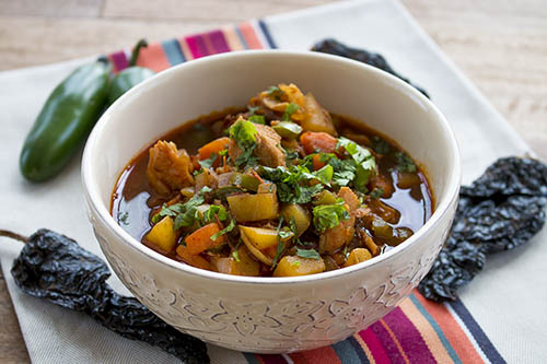 Turkey Ancho Stew with Jalapeno Peppers