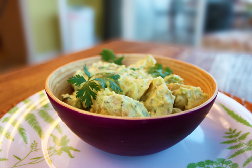 Spicy Guacamole-Potato-Salad with Roasted Jalapeno Peppers Recipe